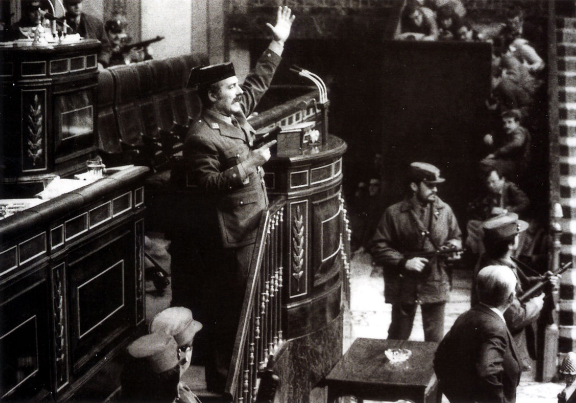 Tejero performing a military coup in Spain